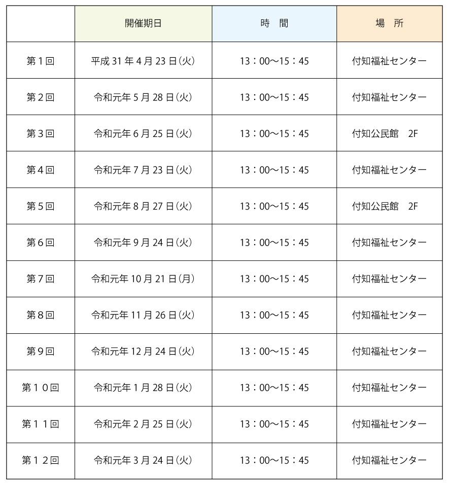 ふくしの法律相談窓口 開催日程表